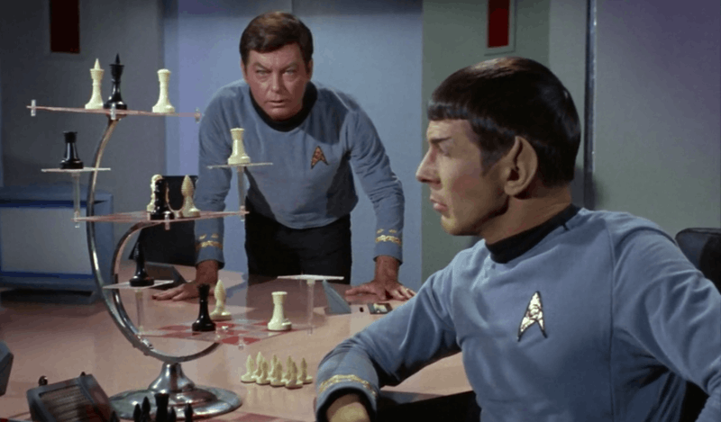spok playing tri dimentional chess in Star Trek TOS