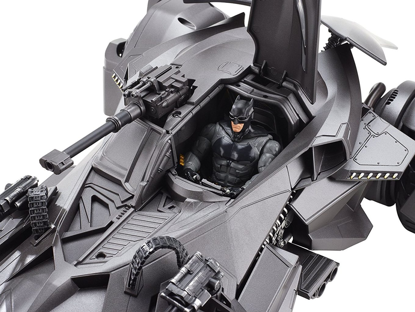 Mattel Remote Control Batmobile closeup. Batman Figure Riding in Batmobile from the Justice League movies