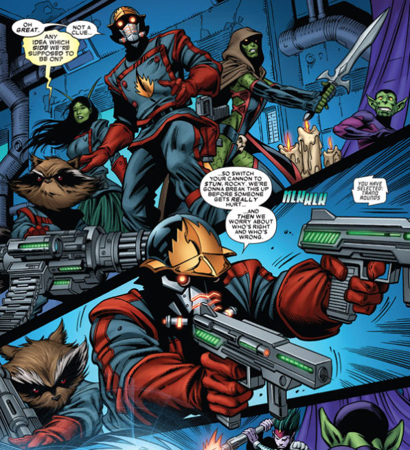 Star Lord, Rocket Racoon and Gamora and Mantis in Legacy