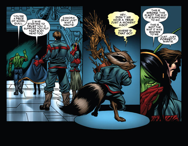 Quill, Mantis, Drax the Destroyer and Rocket Racoon in Guardians of the Galaxy: Legacy