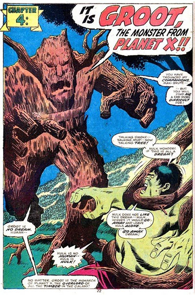 Groot The Monster From Planet X in the 1976 Incredible Hulk Annual