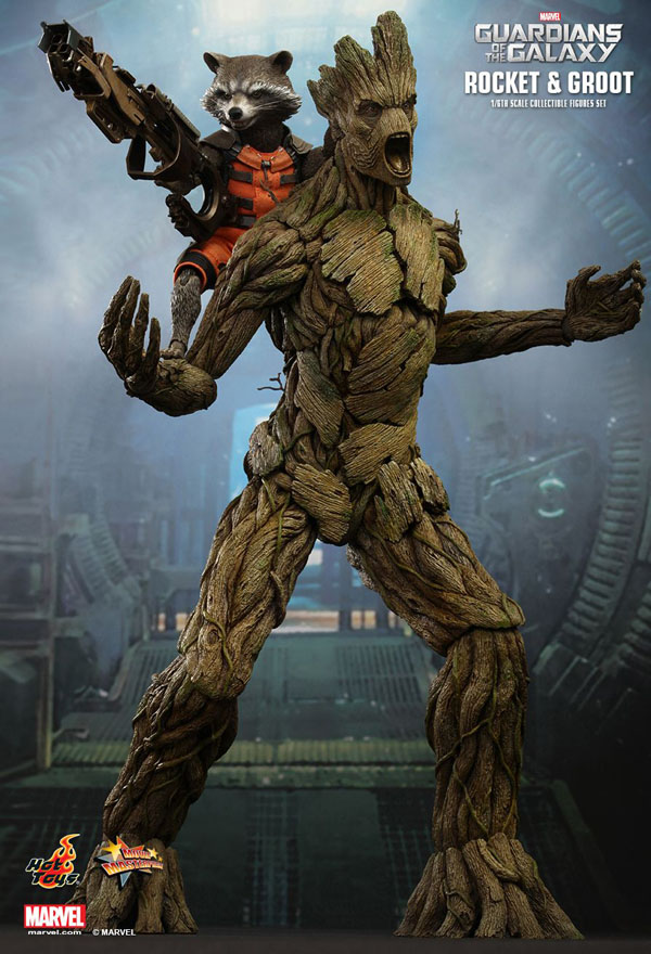 Groot and Rocket from Guardians Of The Galaxy Hot Toys 1/6 Scale Figures
