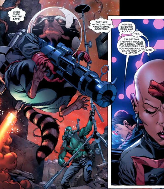 Drax and Rocket Racoon in Guardians of the Galaxy: Realm Of Kings