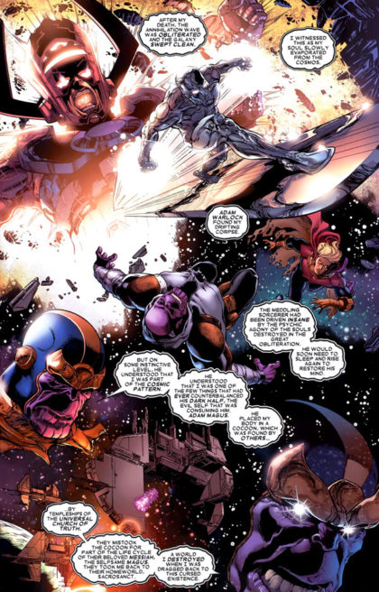 Thanos Imperative: Silver Surfer, Galactus, Adam Warlock, Thanos and The Cancerverse