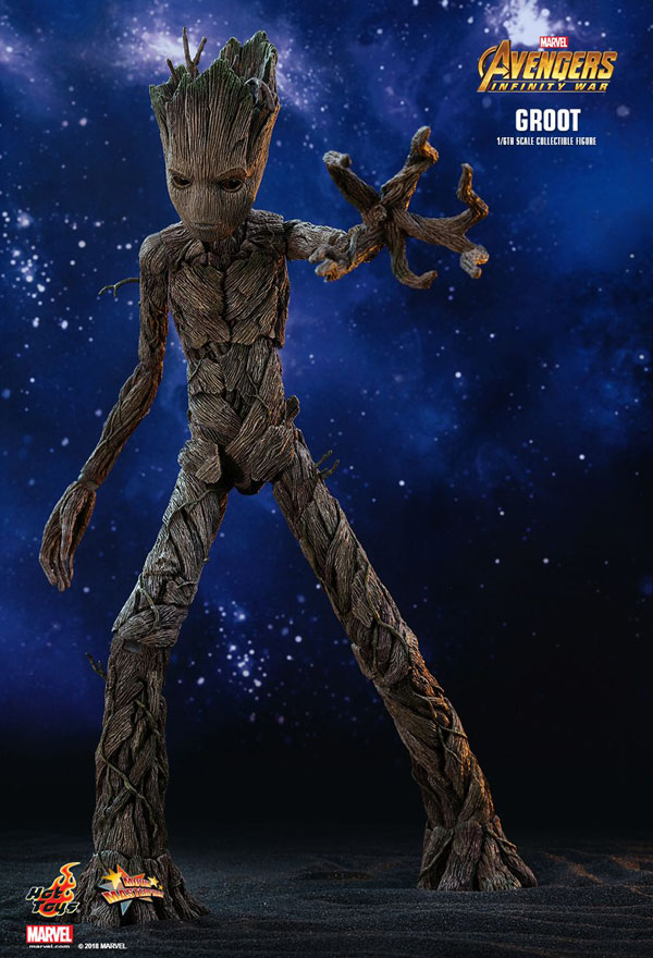 1/6th scale Groot collectible figure Hot Toys Teenage Groot