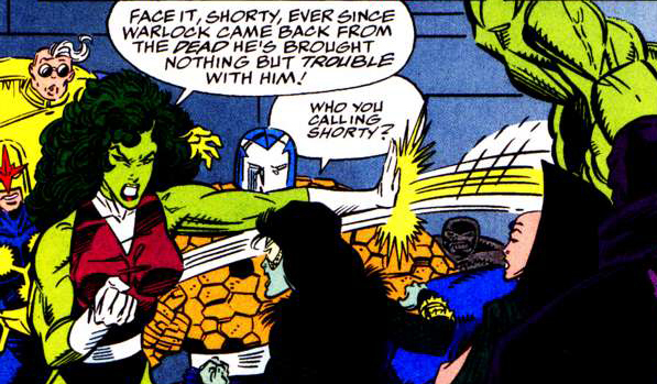 An Argument between Gamora and She Hulk as the Infinity Crusade is concluded