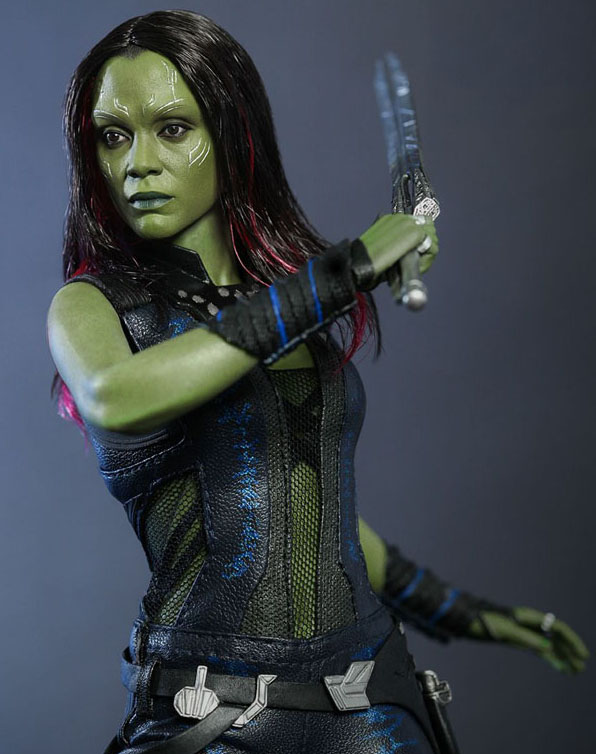 The Hot Toys Gamora figure features a highly developed head sculpt, with detailed costume, weapons and accessories.
