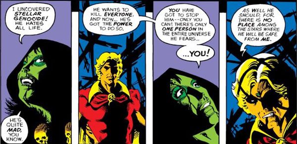 Gamora Reveals Thanos Plot to Adam Warlock. Avengers Annual #7. Art by Jim Starlin. (Marvel Comics)