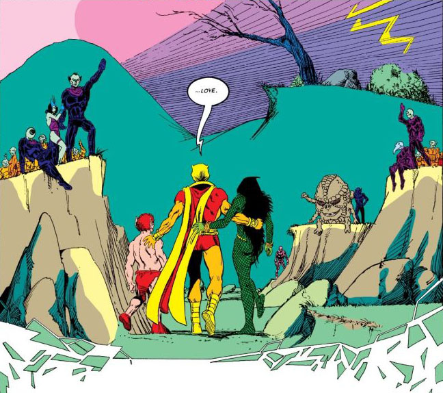 Gamora enters the Soul World with Pip the Troll and Adam Warlock