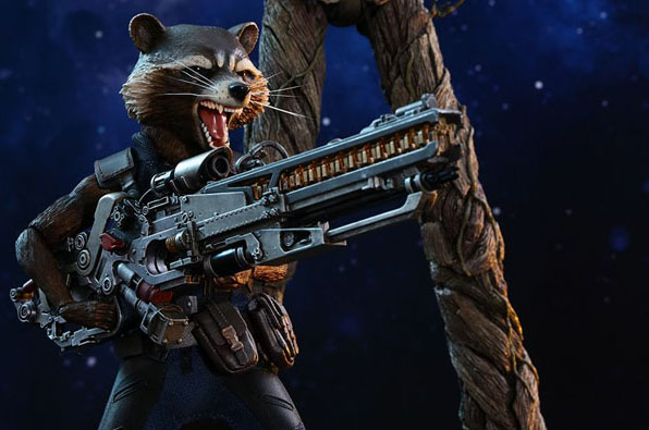 Hot Toys Groot And Rocket Racoon with Gun