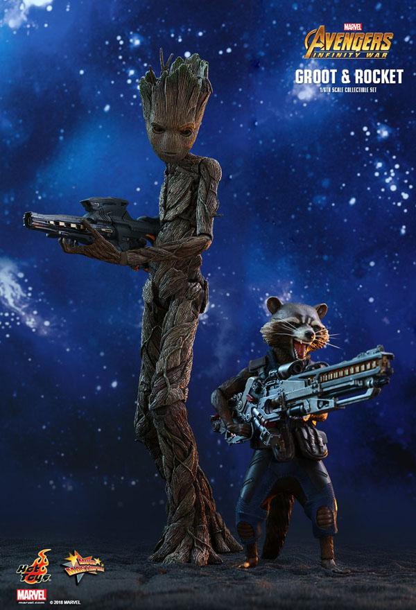 Rocket Racoon and Groot Infinity War Hot Toys 1/6 Scale Figure