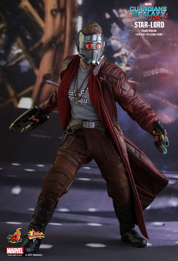 Star Lord Hot Toys with hand painted interchangeable LED light-up masked head sculpt
