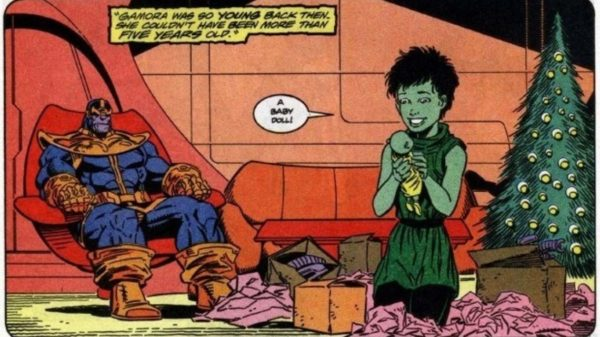 Young Gamora and Thanos