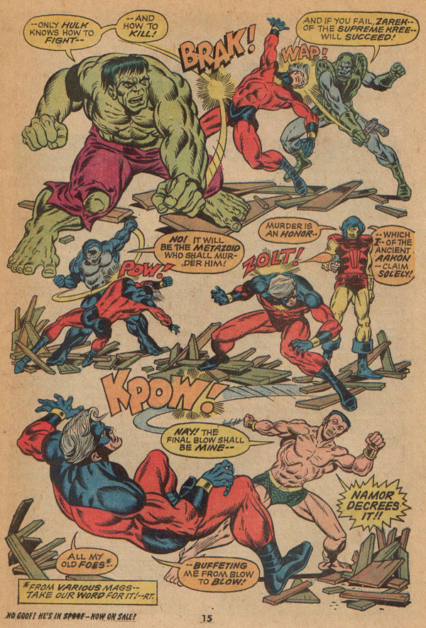 Hulk, Zarek, the Metazoid, Aakon and Namor Attack Mar-Vell