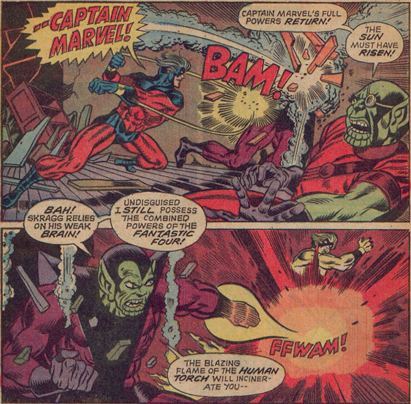 Captain Marvel defeats the two Skrull