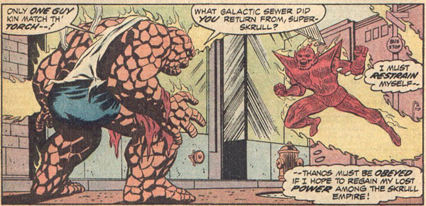 Super Skrull Confronts Thing Disguised as the Human Torch
