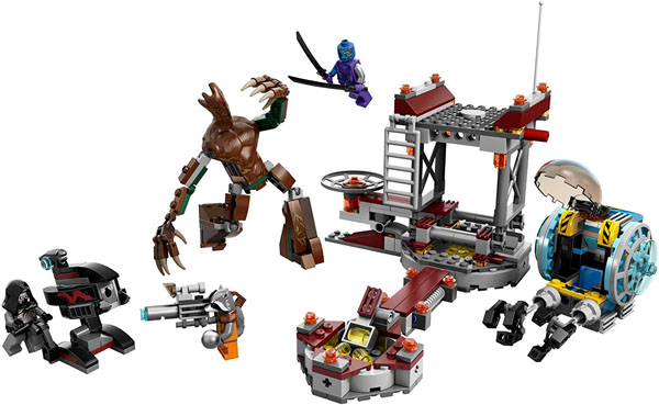 Guardians of the Galaxy LEGO - Knowhere Escape Mission - LEGO Marvel Super Heroes 76020 - Rocket Raccoon, the Sakaaran, Nebula, Groot.