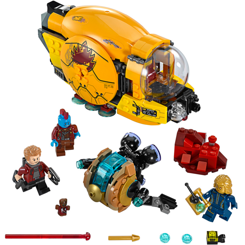 Ayesha's Revenge - LEGO Marvel Super Heroes 76080 - Includes three minifigures: Yondu, Star-Lord and Ayesha, plus a Groot figure with Ravager decoration.