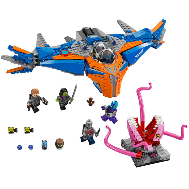 Guardians of the Galaxy Vol 2 Lego sets - The Milano vs. The Abilisk - LEGO Marvel Super Heroes 76081 - Includes four minifigures: Star-Lord, Gamora, Nebula and Drax, plus a Groot figure.