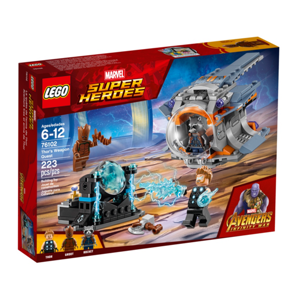 Thor's Weapon Quest - LEGO Marvel Super Heroes 76102 - Avengers: Infinity War - Thor, Rocket and Groot Minifigures