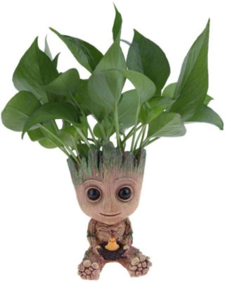 Baby Groot Plant Pot with Plant growing inside.