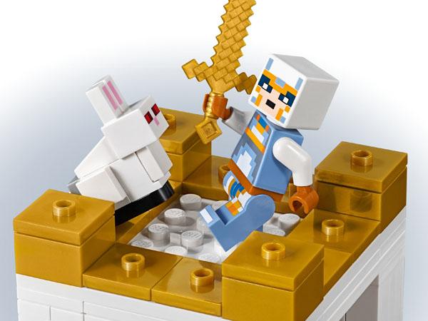 Minecraft Minifigure fights the killer bunny