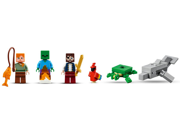 Alex, A Pirate and Minecraft Zombie minifigures. Dolphin, Parrot And Turtle Lego build Figures.