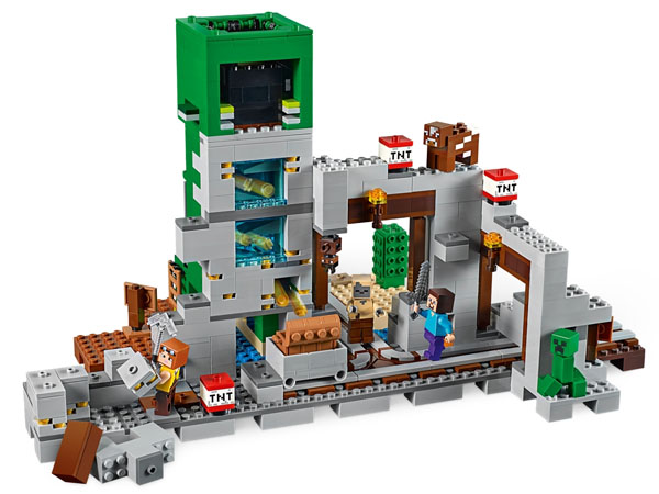 Minecraft Lego Set Features a mine with rail track, minecart and 3 explosion functions