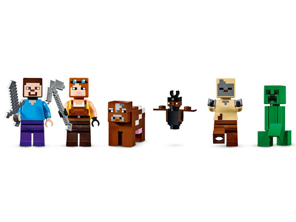 3 minifigures: Minecraft Steve with Iron Sword, Blacksmith with Pickaxe, Husk. Creeper, Cow And Bat Figures.