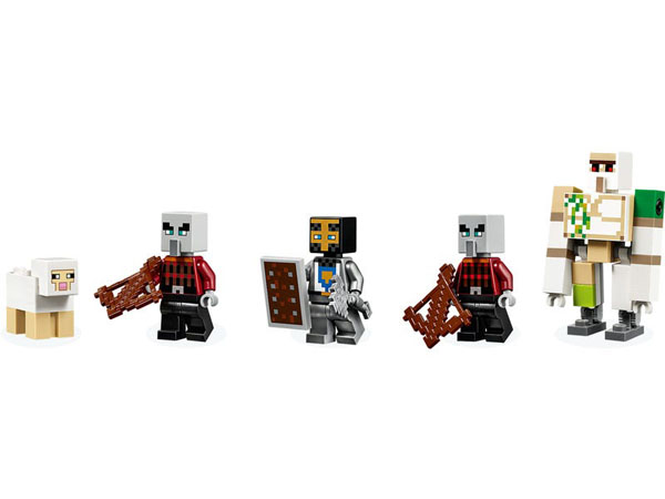 LEGO Minecraft minifigures - characters – Pillagers and an Iron Golem
