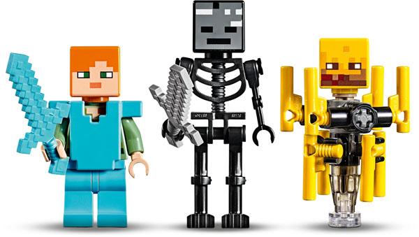 Alex minifigure wirh Diamond Sword, Wither Skeleton, Blaze Figure