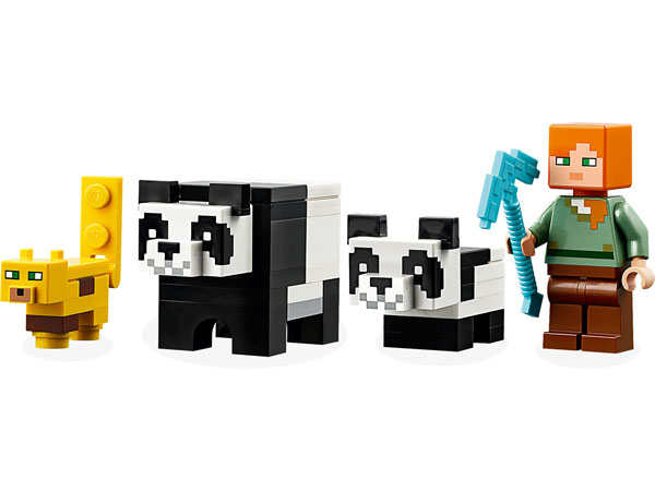Minecraft Lego Minifigure Alex Mom Panda Baby Panda and cub