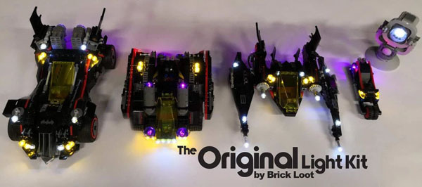 Add LED lights to the batmobile, batwing, bat-tank, and bat cycle
