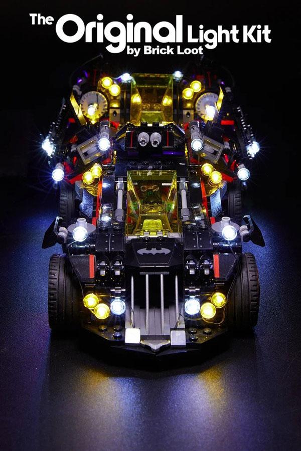 Fully lit Batmobile with Brick Loot LED Kit
