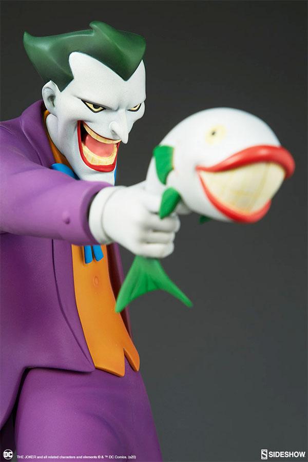 The Joker  statue holds a Joker fish.