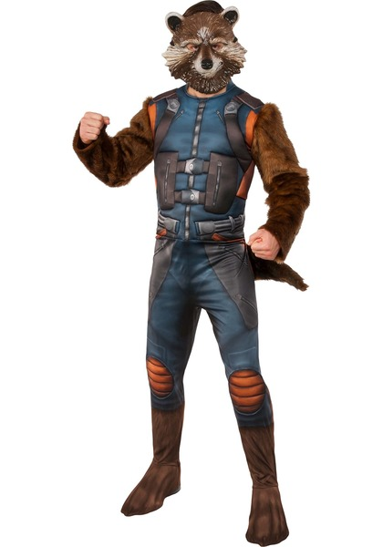Adult Deluxe Rocket Raccoon Costume for Guardians of the Galaxy Cosplay
