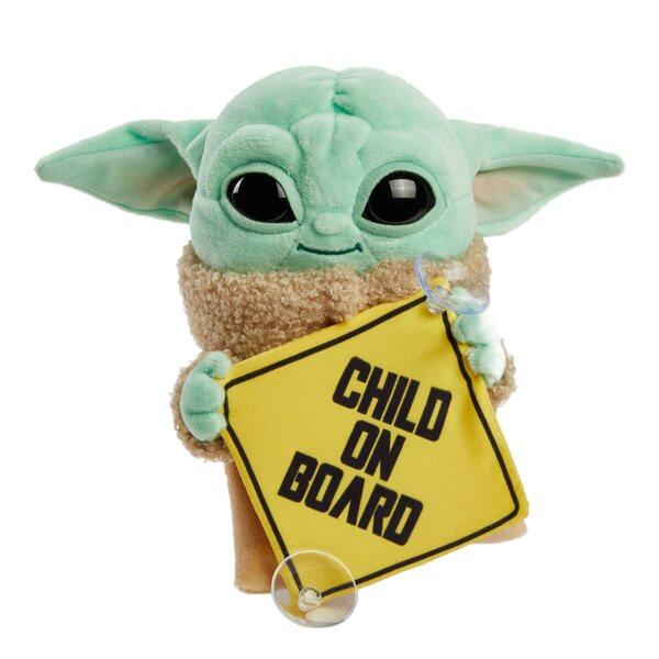 Mattel - Star Wars The Mandalorian -  Baby Yoda - Grogu Child On Board Plush Toy With Sign