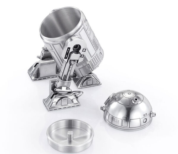 Pewter R2-D2 by Royal Selangor - Open Canister