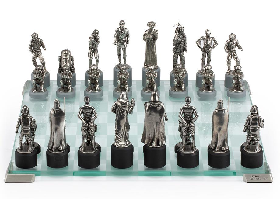 Pewter Star Wars Chess Set -  Collectible by Royal Selangor - Rebellion side: Luke Skywalker, Princess Leia, Han Solo, C-3PO, Chewbacca, R2-D2