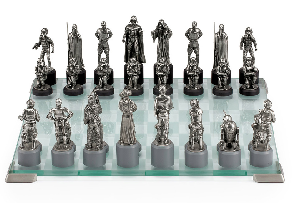 Pewter Star Wars Chess Set -  Collectible by Royal Selangor -  Empire Side: Emperor Palpatine, Darth Vader, Stormtroopers