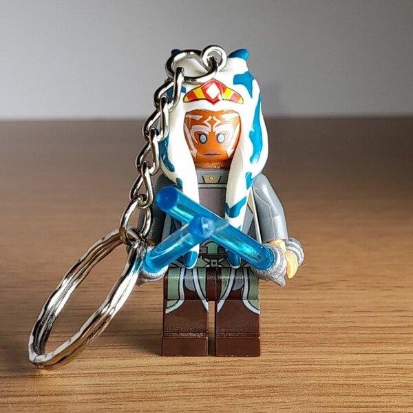 Ahsoka Tano Custom Handmade Brick MiniFigure Keyring