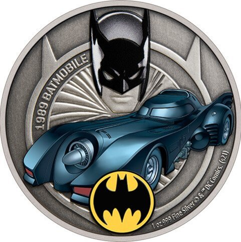 1989 Batmobile 1oz Silver Coin by New Zealand Mint